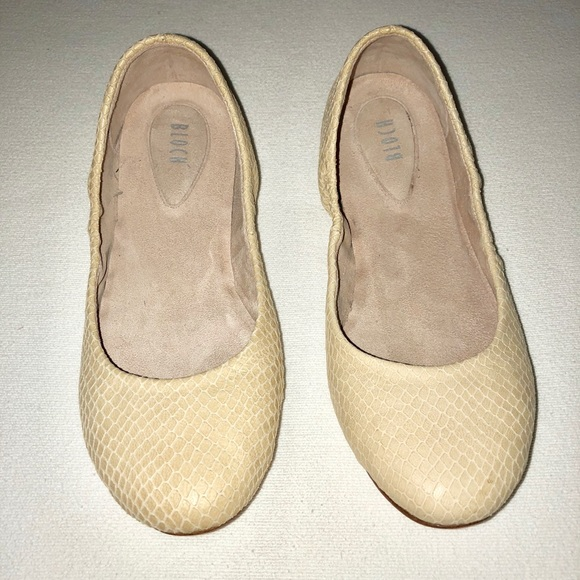 5ca8ff50f Bloch Shoes   Womens Cream Colored Snake Skin Suede Flats   Poshmark